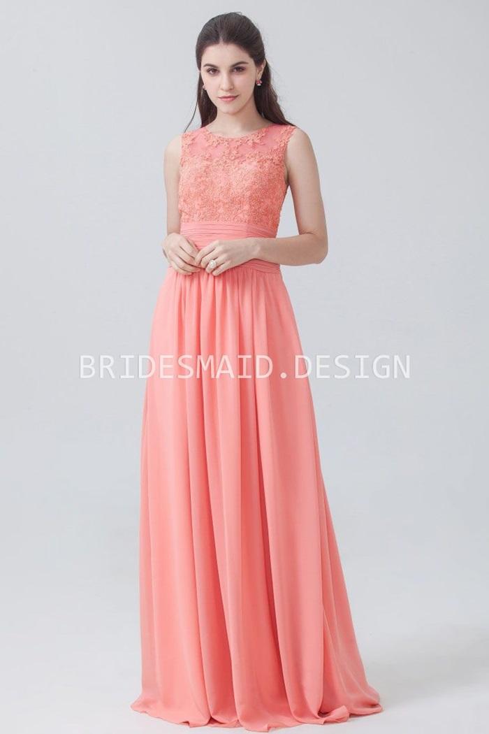 coral-peach-lace-and-chiffon-sleeveless-a-line-elegant-bridesmaid-dress-1