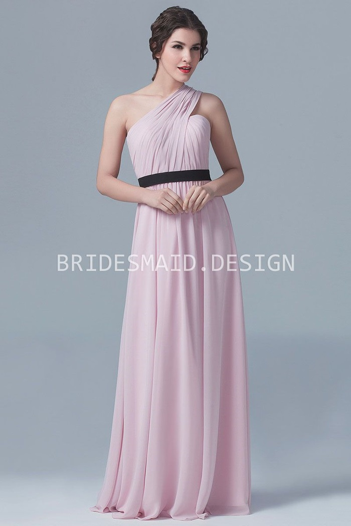 elegant-one-shoulder-pink-chiffon-a-line-long-bridesmaid-dress-1