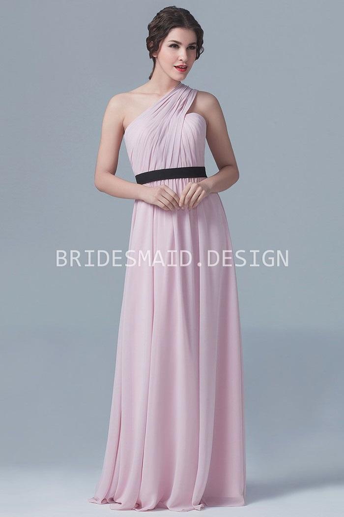 elegant-one-shoulder-pink-chiffon-a-line-long-bridesmaid-dress-1