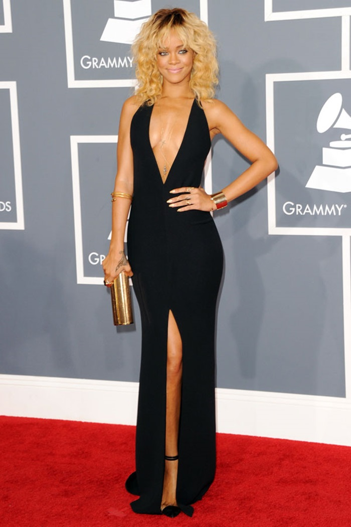 rihanna-sexy-backless-plunging-side-slit-prom-gown-grammy-awards-red-carpet