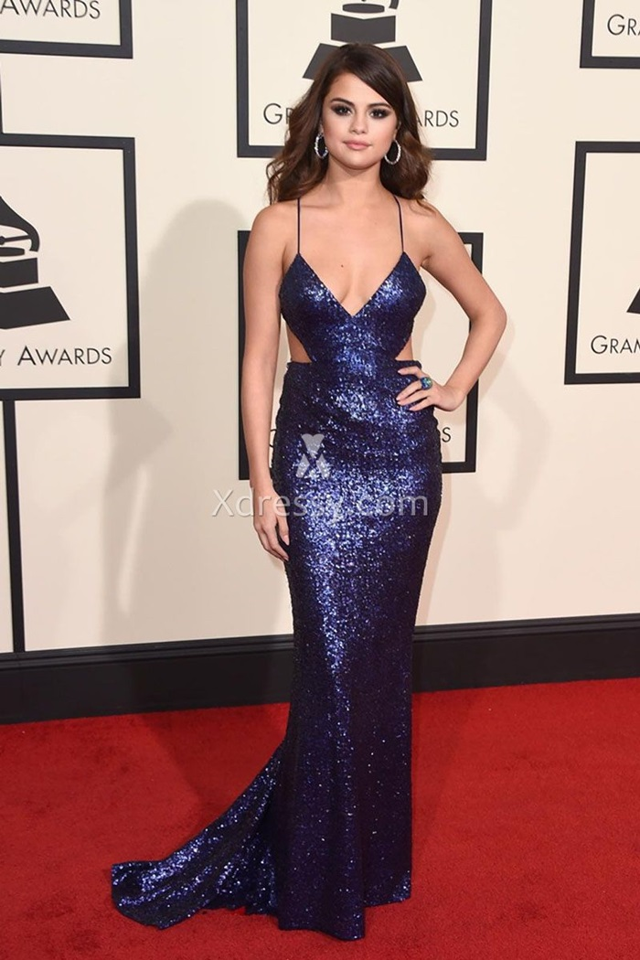 selena-gomez-grammys-2016-red-carpet-sequin-navy-blue-mermaid-prom-dress-1